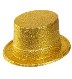 Glittriga Top hat Guld stor