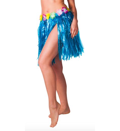 Hawaiikjol med blommor, kort, 31cm Blå