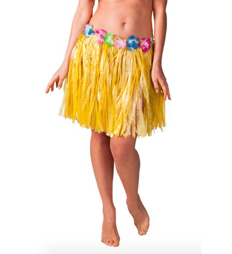 Hawaiikjol med blommor, kort, 34 cm Gul