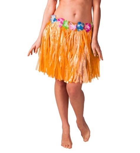 Hawaiikjol med blommor, Barn, 34 cm Orange