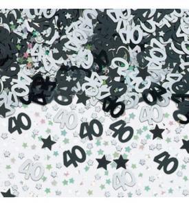 Konfetti 40 silver & svart