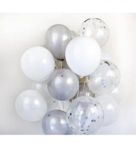 Konfetti ballongbukett silver