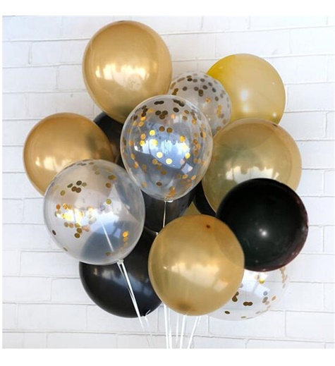 Konfetti ballongbukett guld & svart