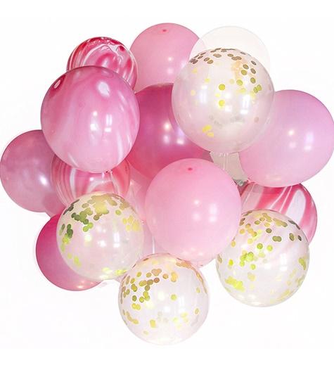 Konfetti ballongbukett rosa