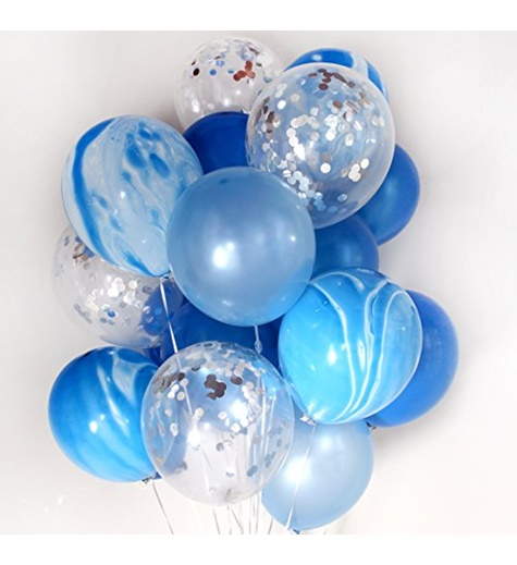 Konfetti ballongbukett blå