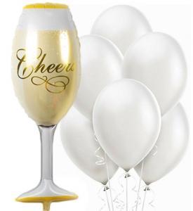 Elegant ballongbukett med champagneglas