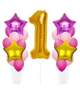 Sifferballong i guld och silver med ballongbukett rosa