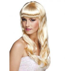 Glamour Drottning Blond med Lugg Peruk