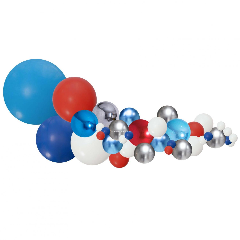 Organisk Ballonggirland blå, rött & silver