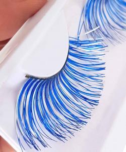Blå med silver touch Lösögonfransar XL