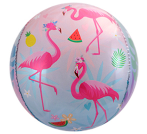 Flamingo folieballong happy birthday sfär