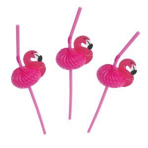 Papperssugrör flamingo pompom