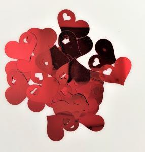 Konfetti hjärtan med liten hjärta röd