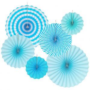 ljusblå party pappersolfjäder 6pack (kopia)