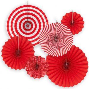 röd party pappersolfjäder 6pack