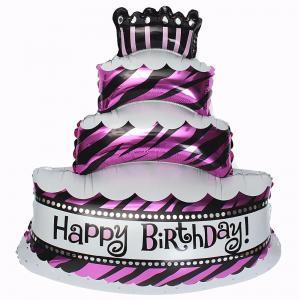 ballong födelsedag tårta rosa