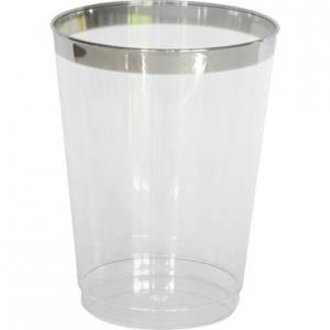 vattenglas I PLAST PREMIUM SILVERKANT