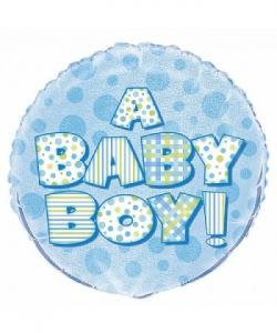 A baby boy text heliumballong