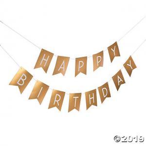 Happy Birthday vimpel pappersgirlang guld