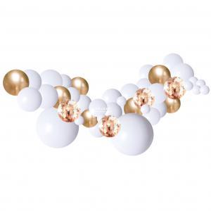 Organisk Ballonggirland Vitt & Guld 2 meter