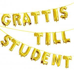 Grattis till Student Ballonggirland Guld
