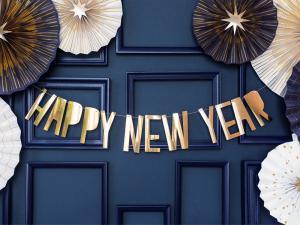 Banner Happy New Year, guld