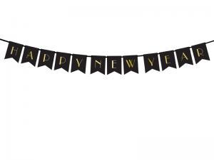 Banner Happy New Year, Svart