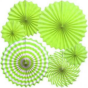 grön party pappersolfjäder 6pack