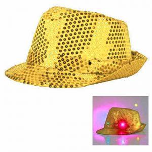 Paljetthatt LED lampa guld