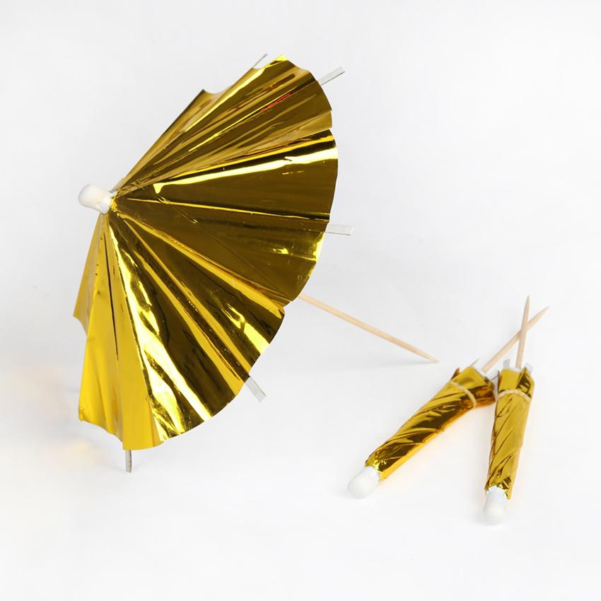 Parasoller cocktail guld 12-pack