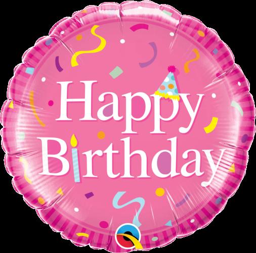 ballong födelsedag rosa med konfetti