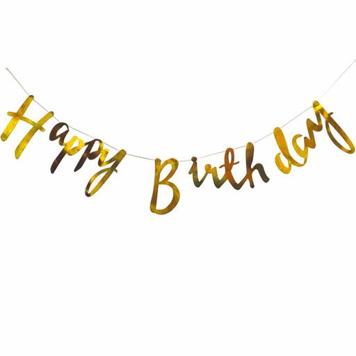 Guld Happy Birthday Girlang Kursivstil