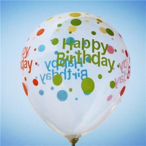 Latexballong Happy birthday transparent