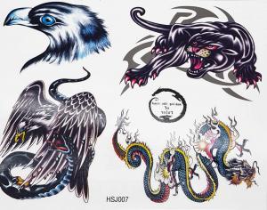 Tatuering korp, blakc panther,drake och örn