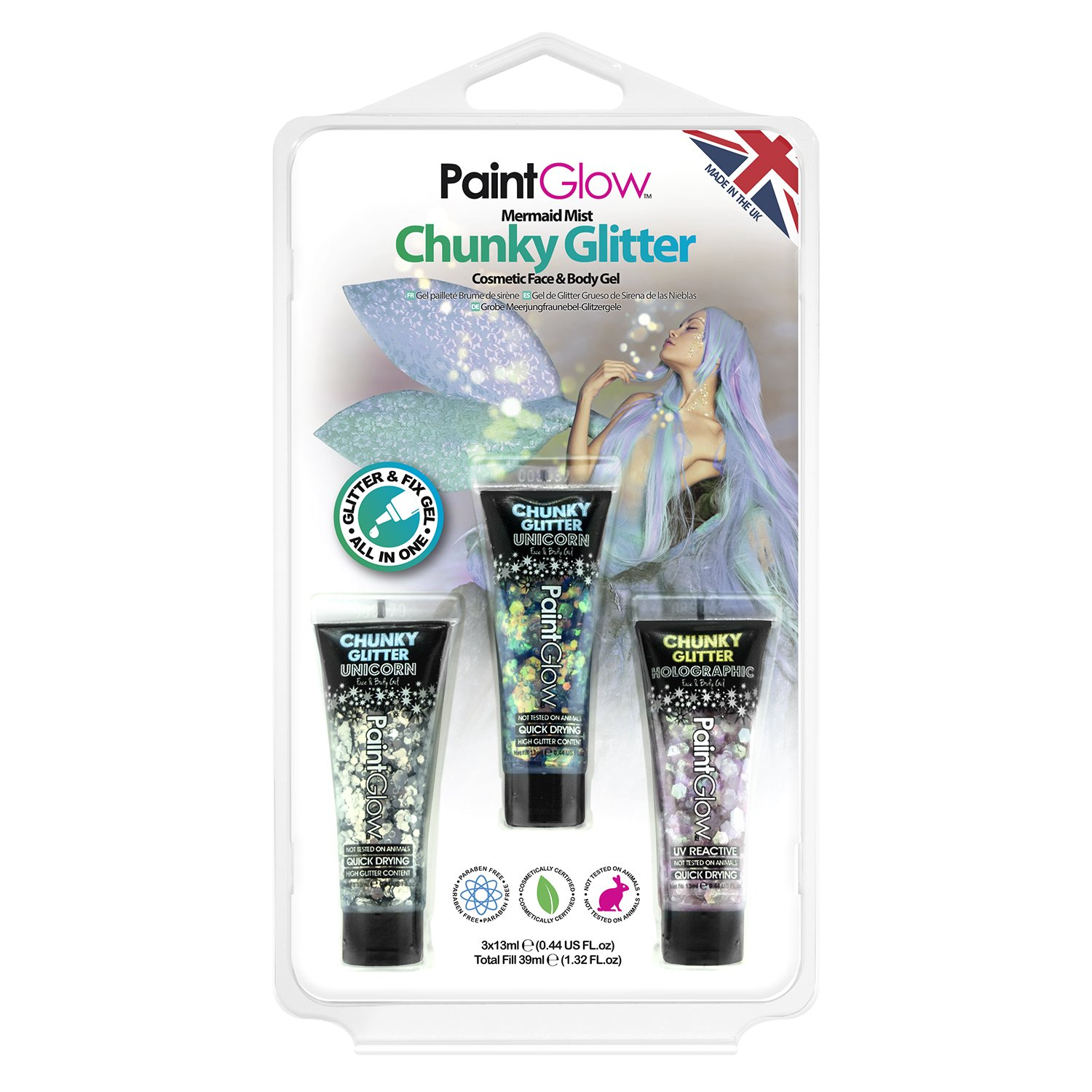 PaintGlow Mermaid Chunky Glitter Bodygel Kit