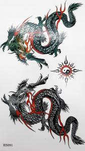Tatuering kinesisk drake yingyang