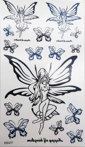 Tatuering fjärilsflicka helsvarta