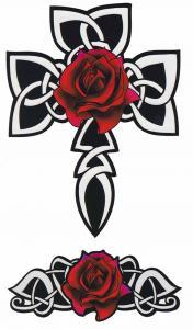 Tatuering kors med hjärta