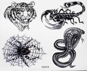 Tatuering tiger, skorpion,cobra och tarantula