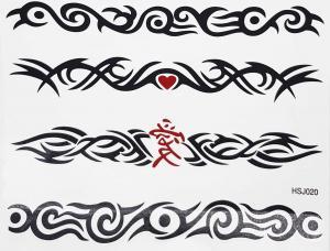 Tatuering tribal hjärta och kinesisk märke