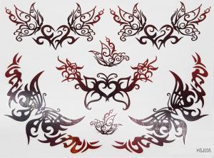 Tatuering tribal hjärta och fjäril