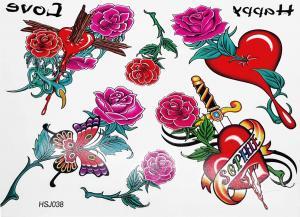 Tatuering Rosor med färg och dolk
