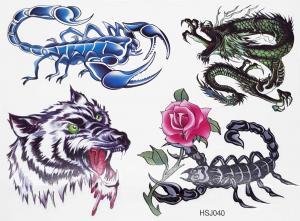 Tatuering drake, varg och 2 skorpioner