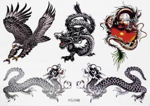 Tatuering 4 drakar och en örn