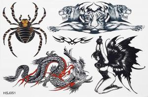Tatuering spindel,drake,tiger och fjärilstjej