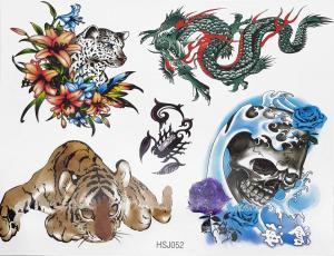 Tatuering drake, snöleopard,skorpion och dödskalle
