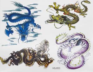 Tatuering 4 olika drakar