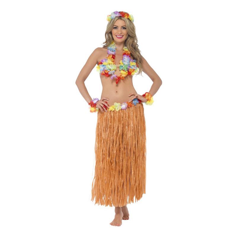 Hawaiikjol med blommor, Vuxna, 75cm Orange
