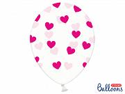 Latexballong Genomskinlig Cerise Rosa Hjärtan 30cm