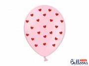 Latexballonger Vit med röda hjärtan  30cm